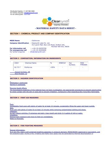 Dichlorvos-Material Safety Datasheet - clearsynth