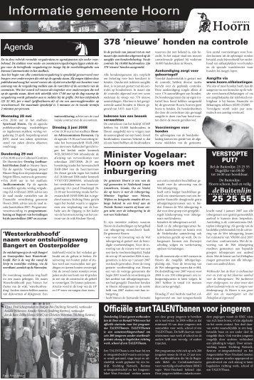 Informatiepagina's woensdag 28 mei 2008 - Gemeente Hoorn