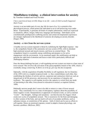 Mindfulness training - a clinical intervention for anxiety - Openground