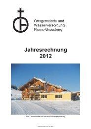 Jahresrechnung 2012 - Ortsgemeinde Flums-Grossberg
