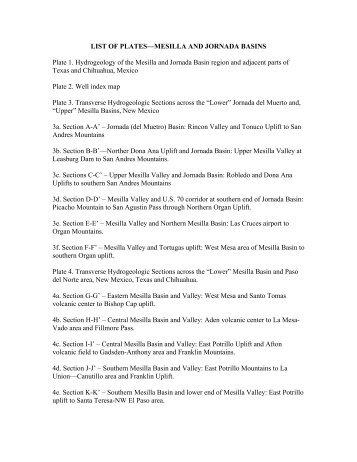 LIST OF PLATES—MESILLA AND JORNADA BASINS Plate 1 ...
