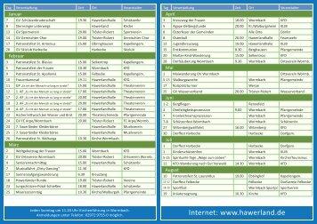 Veranstaltungskalender für das Jahr 2012 - Hawerland
