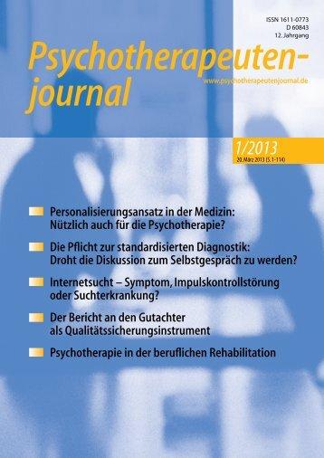 1/2013 - Psychotherapeutenjournal