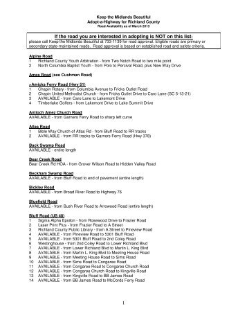 Richland County Road List - Keep the Midlands Beautiful