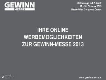 Werbemöglichkeiten Online - Gewinn-Messe 2013