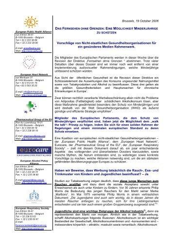 Brussels, 29 September 2006 - European Public Health Alliance