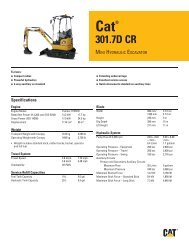 Small specalog for Cat 301.7D CR Mini Hydraulic Excavator ...