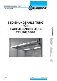 bedienungsanleitung für flachauszugshaube triline 55/60 - Trivent AG