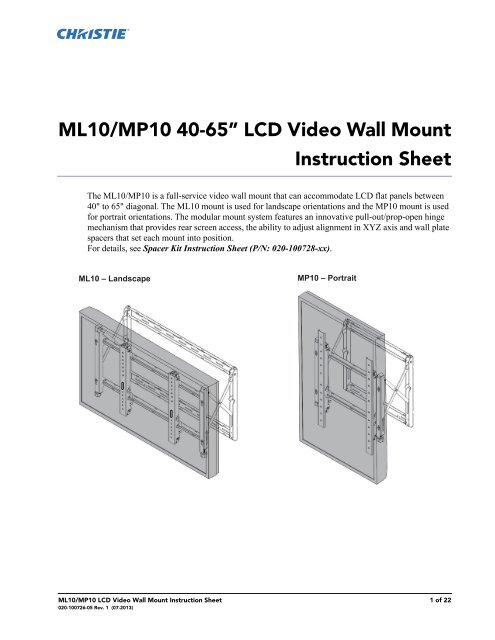 "ML10/MP10 46-60"" LCD Video Wall Mount Instruction Sheet"