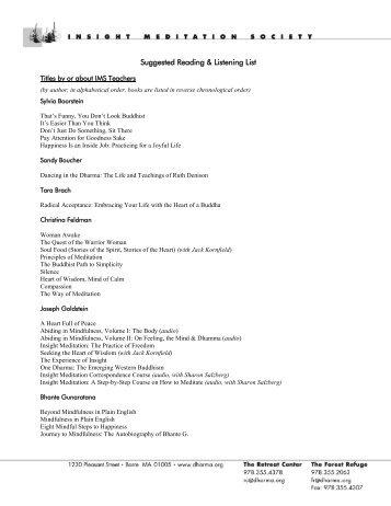 Suggested Reading & Listening List - Insight Meditation Society