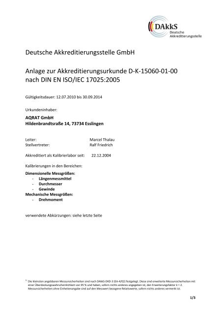 Deutsche Akkreditierungsstelle GmbH Anlage zur ...