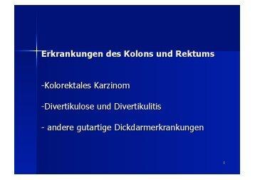 Vorlesung über das kolorektale Karzinom (PDF 8,7 MB) - Volker Nutz