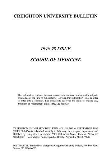 creighton university bulletin 1996-98 issue school of medicine