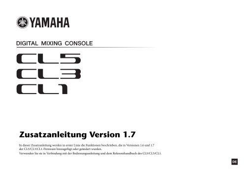 Zusatzanleitung Version 1.7 - Yamaha