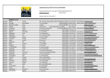Consulter la liste - Compagnie des Architectes de Copropriété