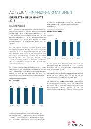 """Factsheet """"Actelion - Finanzinformationen"""""""