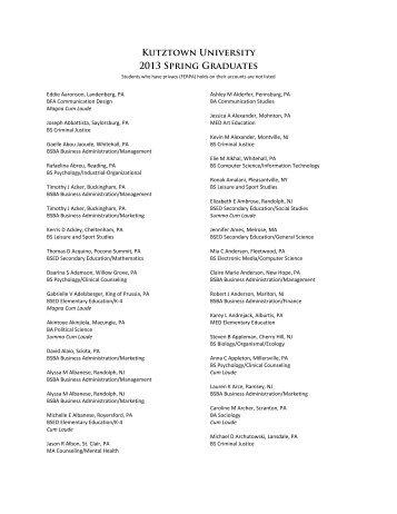 View the Spring 2013 graduates - Kutztown University