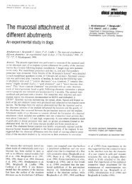 The mucosal attachment at different abutments