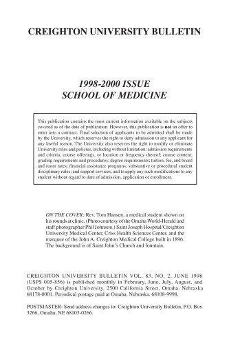 creighton university bulletin 1998-2000 issue school of medicine