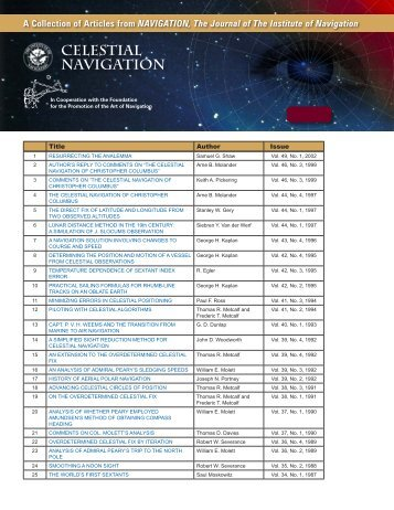 Celestial Navigation, Papers Selected from NAVIGATION