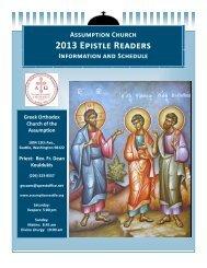 2013 Epistle Readers Information & Schedule - Greek Orthodox ...