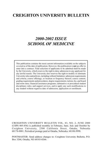creighton university bulletin 2000-2002 issue school of medicine