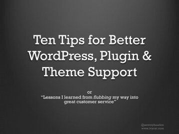10 Tips for Better WordPress, Plugin & Theme Support - IvyCat