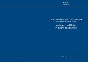 """""""Vertrauen und Risiko in einer digitalen Welt"""" (1 MB) - DIVSI"""