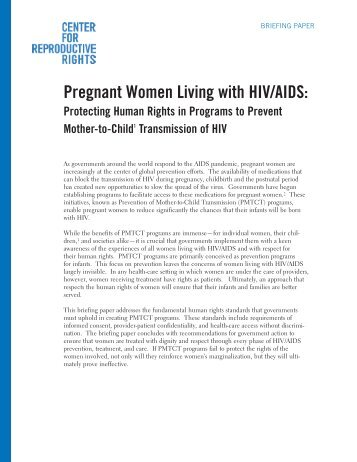 Pregnant Women Living with HIV/AIDS: - Center for Reproductive ...