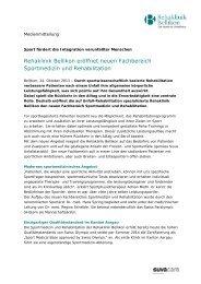 Rehaklinik Bellikon eröffnet Sportmedizin und ... - SWISS REHA