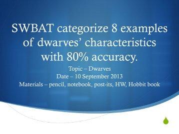 SWBAT categorize 8 examples of dwarves ... - Valor Academy