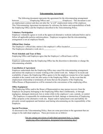 Sample telecommuting agreement psychological injury telecommuting agreement the following document represents the platinumwayz