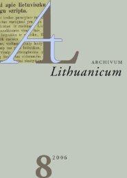archivum lithuanicum 8 (27 mb, pdf) - Lietuvių kalbos institutas