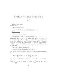 Math1853, Probability theory essence