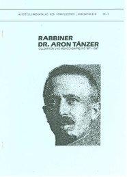 Rabbiner Dr. Aron Tänzer. Gelehrter und ... - Vorarlberg
