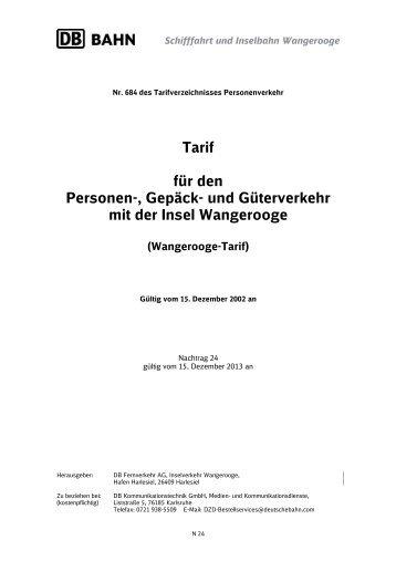Tarif für den Personen-, Gepäck - Schifffahrt und Inselbahn ...