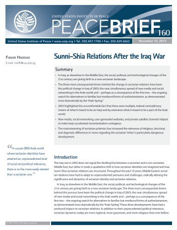 Sunni-Shia Relations After the Iraq War - United States Institute of ...