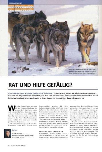 RAT UND HILFE GEFÄLLIG? - Dr. Kraus & Partner