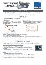 Notice d'installation et d'entretien HOTTE HOZONE 530 - Aldes