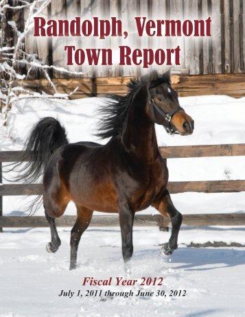 Town Report 2012 - Randolph, Vermont