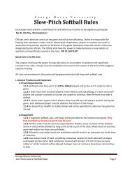 Slow-Pitch Softball Rules - Recreation - George Mason University