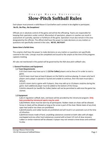 softball rules slow pitch adult