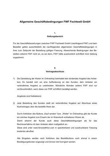Allgemeine Geschäftsbedingungen FWF Fechtwelt ... - Fence With Fun