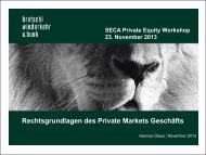 Präsentation Rechtsgrundlagen des Private Markets Geschäfts