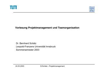 Projektmanagement - Software and Systems Engineering