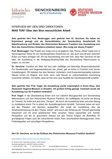 Interview Museumsdirektoren - Senckenberg Museum