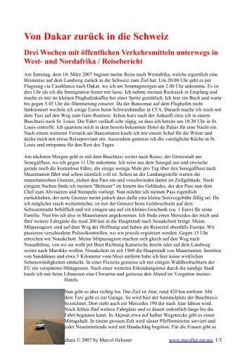 Von Dakar zurück in die Schweiz - Marcel Ochsner