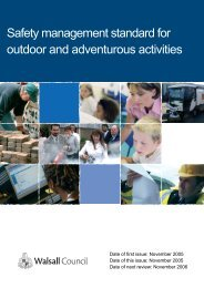 Safety management standard for outdoor and adventurous activities