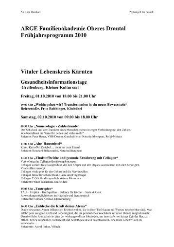 ARGE Familienakademie Oberes Drautal Frühjahrsprogramm 2010 ...