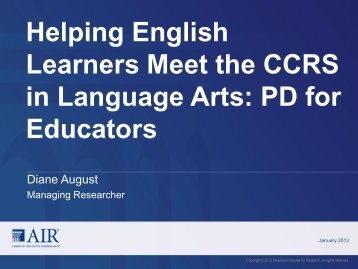 Helping English Learners Meet the CCRS in Language Arts: PD for ...